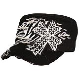 Black Bling Cross Zebra Cadet Cap
