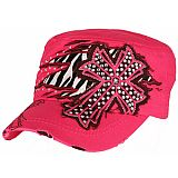 Pink Bling Cross Zebra Cadet Cap