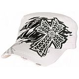White Bling Cross Zebra Cadet Cap