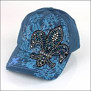 Blue Colored Rhinestone Fluer De Li's Hat