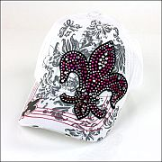 White Pink Colored Rhinestone Fluer De Li's Hat