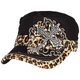 Black Leopard Bling Cross Cadet Cap