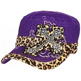 Purple Leopard Bling Cross Cadet Cap