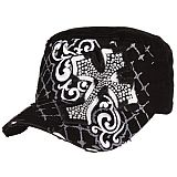 Black Bling Cross Cadet Cap