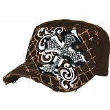 Dark Brown Bling Cross Cadet Cap
