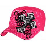 Pink Bling Cross Cadet Cap