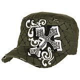 Olive Green Bling Cross Cadet Cap