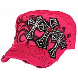 Pink Bling Three Crosses Cadet Cap