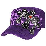 Purple Bling Three Crosses Cadet Cap