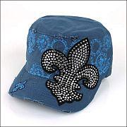 Blue Rhinestone Fleur De Li's Hat