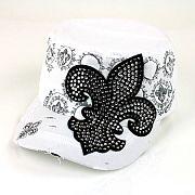 White Rhinestone Fleur De Li's Hat