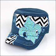 Blue Chevron Rhinestone Fleur De Li's Hat