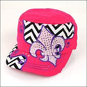Hot Pink Chevron Rhinestone Fleur De Li's Hat