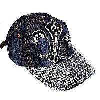 Rhinestone Fleur De Li's Blue Jean Hat         #WAH-206