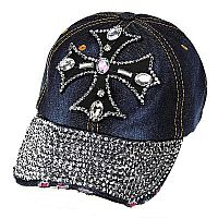 Rhinestone Blue Jean Jewels Cross Hat            #WAH-cross