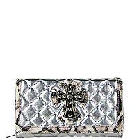 Shiny Silver Leopard Rhinestone Cross Wallet       #WWD-Silver
