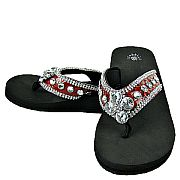 Isabella Red Flower Flip Flops                                       #WWD-Redflower