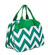 Green Chevron Insulated Lunch Bag