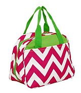 Pink & Green Chevron Insulated Lunch Bag