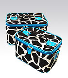 2 Blue Giraffe Beauty Cases