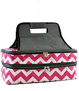 Chevron Pink Insulated Double Food Carrier        #YK-ZC391HPK