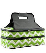 Chevron Green Insulated Double Food Carrier             #YK-ZC391LM