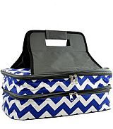 Chevron Blue Insulated Double Food Carrier             #YK-ZC391RBL