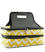 Chevron Yellow Insulated Double Food Carrier       #YK-ZC391YL