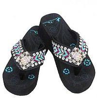 Aztec Purple Turquoise Diamond Square Flip Flops        #YKT-BD16A-S002BK