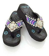Aztec Pink Purple Turquoise Diamond Square Flip Flops   #YKT-BD22-S002BK