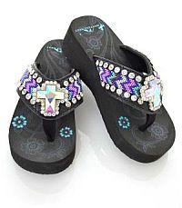 Aztec Pink Purple Turquoise Rhinestone Cross Flip Flops     #YKT-BD22-S008BK