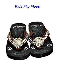 Montana West Round Rhinestone Brown Kid Flip Flops        #YKT-S001CF