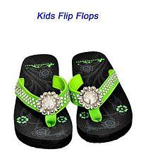 Montana West Round Rhinestone Green Kid Flip Flops   #YKT-S001LM