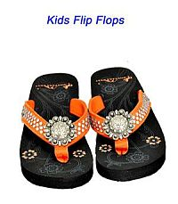 Montana West Round Rhinestone Orange Kid Flip Flops        #YKT-S001OR