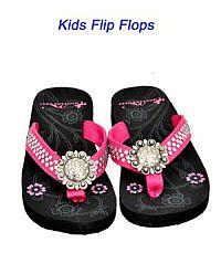 Montana West Round Rhinestone Hot Pink Kid Flip Flops       #YKT-S001PK