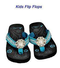 Montana West Round Rhinestone Turquoise Kid Flip Flops      #YKT-S001TQ
