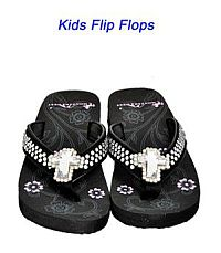 Montana West Rhinestone Cross Black Kid Flip Flops          #YKT-S008BK