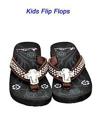 Montana West Rhinestone Cross Brown Kid Flip Flops           #YKT-S008CF