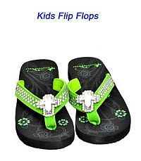 Montana West Rhinestone Cross Green Kid Flip Flops       #YKT-S008LM