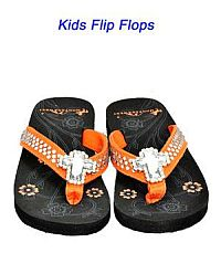 Montana West Rhinestone Cross Orange Kid Flip Flops   #YKT-S008OR