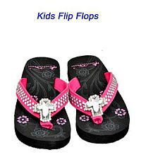Montana West Rhinestone Cross Hot Pink Kid Flip Flops      #YKT-S008PK
