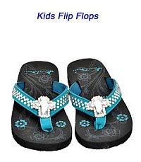 Montana West Rhinestone Cross Turquoise Kid Flip Flops        #YKT-S008TQ