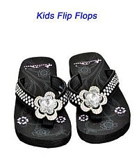 Montana West Rhinestone Black Large Flower Kid Flip Flops  #YKT-S015BK