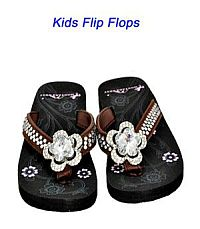 Montana West Rhinestone Brown Large Flower Kid Flip Flops  #YKT-S015CF