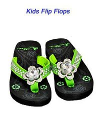 Montana West Rhinestone Green Large Flower Kid Flip Flops   #YKT-S015LM
