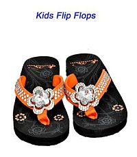 Montana West Rhinestone Orange Large Flower Kid Flip Flops      #YKT-S015OR