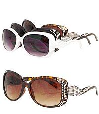 Rhinestone Slanted Design Bling Sunglasses             #YKT-SUND1811RS