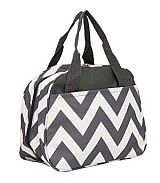 Gray Chevron Insulated Lunch Bag