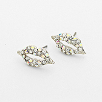 Rhinestone Clear Lip Earrings            #W-ClearEar