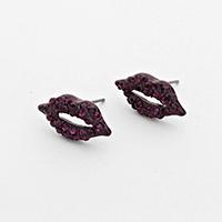Rhinestone Amethyst Lip Earrings            #W-Amethyst